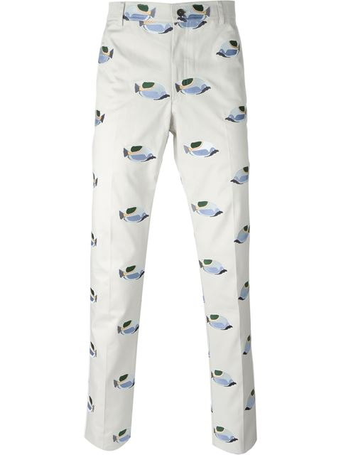 embroidered fish chino trousers