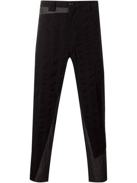 panelled straight leg trousers