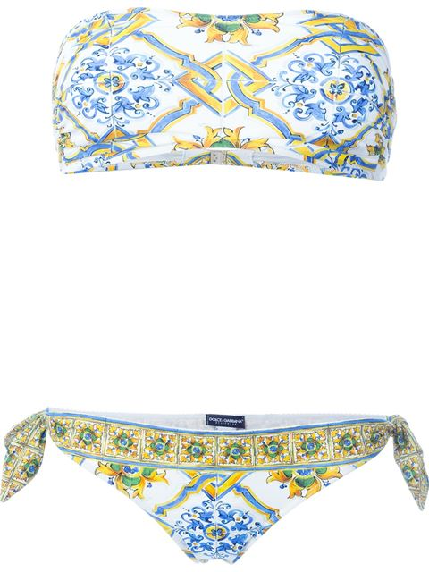Carretto Siciliano printed bikini
